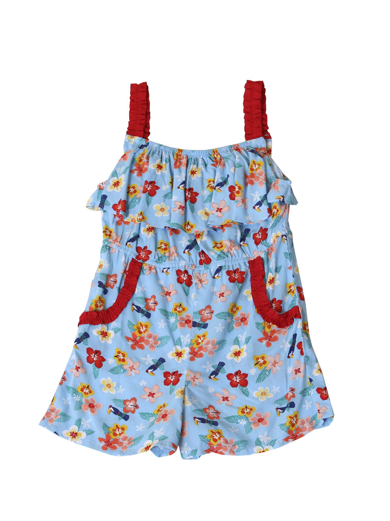 Kinderkind 2T 3T 4T 5T 6 7 kids apparel Baby clothes Children's clothing  Kids Fashion Kids clothing  toddler clothes machine washable  Playwear  Girls clothing  Girls Leggings Girls dresses  Girls Hibiscus Romper Pull on romper with elastic rouched straps and waistband Chest ruffle Curved functional pockets  Machine washable 100% viscose