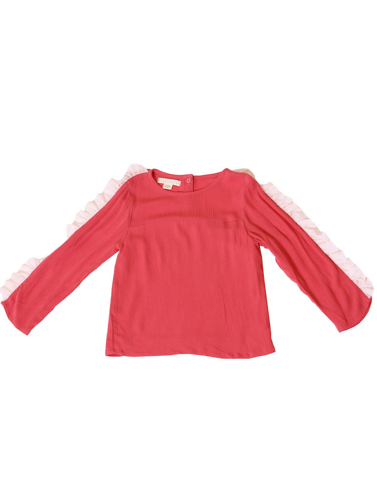 Kinderkind 2T 3T 4T 5T 6 7 kids apparel Baby clothes Children's clothing  Kids Fashion Kids clothing  toddler clothes machine washable  Playwear  Girls clothing  Girls Leggings Girls dresses  Girls Long Sleeve Chiffon Ruffle Top Long sleeve top Chiffon ruffle detail on sleeve Back functional snap closure  Machine washable 100% rayon
