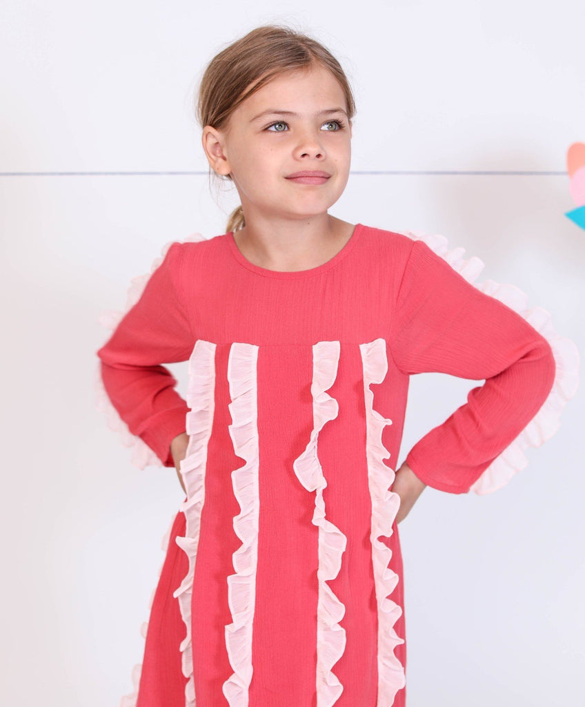 Kinderkind 2T 3T 4T 5T 6 7 kids apparel Baby clothes Children's clothing  Kids Fashion Kids clothing  toddler clothes machine washable  Playwear  Girls clothing  Girls Leggings Girls dresses  Girls Long Sleeve Dress with Chiffon Ruffles Long sleeve dress Chiffon ruffle detail on sleeve Back functional snap closure  Machine washable 100% rayon