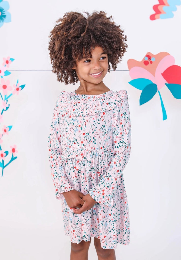 Kinderkind 2T 3T 4T 5T 6 7 kids apparel Baby clothes Children's clothing  Kids Fashion Kids clothing  toddler clothes machine washable  Playwear  Girls clothing  Girls Leggings Girls dresses  Girls Long Sleeve Floral Ruffle Dress Long sleeve floral dress  Ruffle detail Hidden back zipper Machine washable 100% viscose