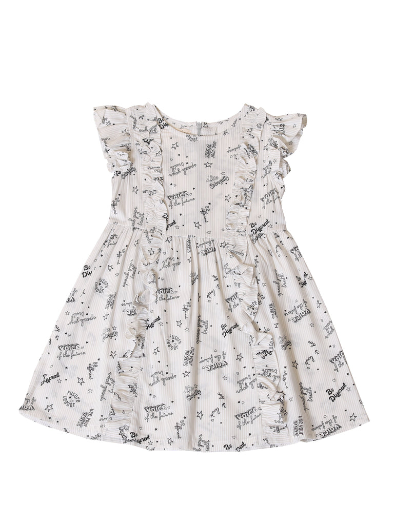 Kinderkind 2T 3T 4T 5T 6 7 kids apparel Baby clothes Children's clothing  Kids Fashion Kids clothing  toddler clothes machine washable  Playwear  Girls clothing  Girls clothes  Girls Leggings Girls dresses  Girls Printed Icon Ruffle Dress Ruffle short sleeve dress  Hidden back zipper  Machine washable 100% viscose