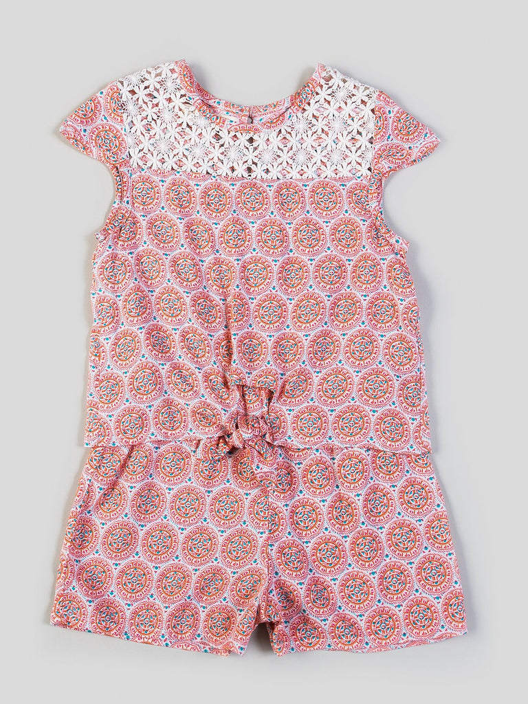 Kinderkind 2T 3T 4T 5T 6 7 kids apparel Baby clothes Children's clothing  Kids Fashion Kids clothing  toddler clothes machine washable  Playwear  Girls clothing  Girls clothes  Girls Leggings Girls dresses  Girls Printed Romper Pull on romper with front crochet lace yoke Front tie detail  Machine washable 100% rayon challis