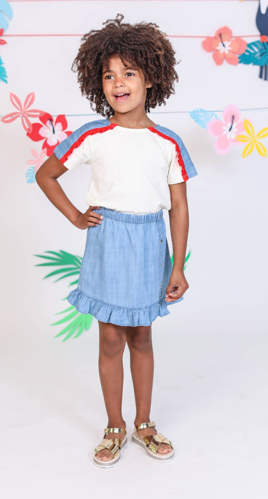 Kinderkind 2T 3T 4T 5T 6 7 kids apparel Baby clothes Children's clothing  Kids Fashion Kids clothing  toddler clothes machine washable  Playwear  Girls clothing  Girls clothes  Girls Leggings Girls dresses  Girls Pull On Chambray Skirt Pull on skirt with elastic wasitband and ruffle hem  Elastic waistband  Star Rivet  Machine washable  100% tencel chambray