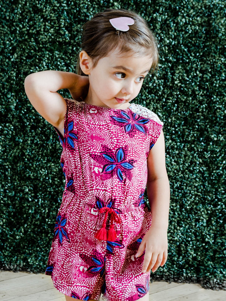 Kinderkind 2T 3T 4T 5T 6 7 kids apparel Baby clothes Children's clothing  Kids Fashion Kids clothing  toddler clothes machine washable  Playwear  Girls clothing  Girls clothes  Girls Leggings Girls dresses  Girls Rayon Challis Romper Pull-on romper with crochet lace detail on shoulder  Elastic waistband with faux drawcord detail  Criss-cross back  Back neck closure  Machine washable 100% rayon challis