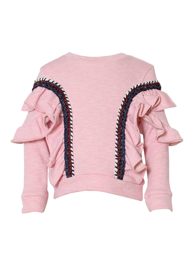 Kinderkind 2T 3T 4T 5T 6 7 kids apparel Baby clothes Children's clothing  Kids Fashion Kids clothing  toddler clothes machine washable  Playwear  Girls clothing  Girls clothes  Girls Leggings Girls dresses  Girls Ruffle Pullover Pull over with ruffle detail on sleeve and body Heathered pink Machine washable 60% polyester 40% cotton french terry
