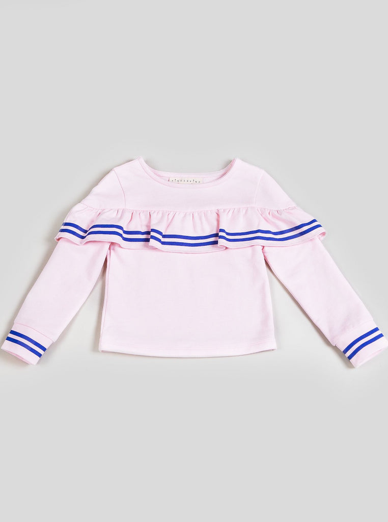 Kinderkind 2T 3T 4T 5T 6 7 kids apparel Baby clothes Children's clothing Kids Fashion Kids clothing toddler clothes machine washable Playwear Girls clothing Girls Leggings Girls dresses Girl's Ruffle Top Ruffle Detail and Rib Cuffs Machine Washable 95% Cotton 5% Spandex French Terry