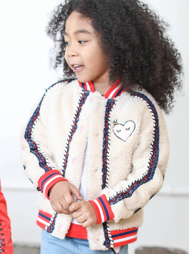 Kinderkind 2T 3T 4T 5T 6 7 kids apparel Baby clothes Children's clothing  Kids Fashion Kids clothing  toddler clothes machine washable  Playwear  Girls clothing  Girls clothes  Girls Leggings Girls dresses  Girls Sherpa Varsity Bomber Sherpa bomber with varsity stripe rib at neck, sleeve cuff and hem Snap closure Graphic details and embroidery patches Machine washable 100% polyester