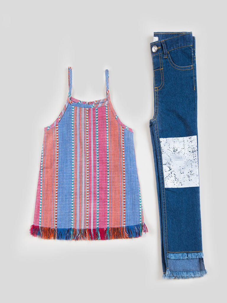 Kinderkind 2T 3T 4T 5T 6 7 kids apparel Baby clothes Children's clothing  Kids Fashion Kids clothing  toddler clothes machine washable  Playwear  Girls clothing  Girls clothes  Girls Leggings Girls dresses  Girls Stripe Fringe Tank Top and Foil Graphic Denim Pants Tank top with fringe hem and back key hole  Flat front denim pants  Curved pocket detail  Back patch pockets  Foil graphic knee detail  Fringe Hem  Machine washable 100% cotton woven 72% cotton 27% polyester 1% spandex denim