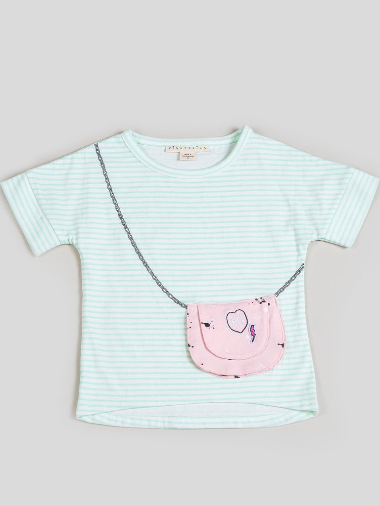 Kinderkind 2T 3T 4T 5T 6 7 kids apparel Baby clothes Children's clothing Kids Fashion Kids clothing toddler clothes machine washable Playwear Girls clothing Girls Leggings Girls dresses Girl's Striped Shirt with Functional Purse Pocket Functional Purse Pocket Detail and Rolled up sleeve detail Machine Washable 100% Cotton Jersey