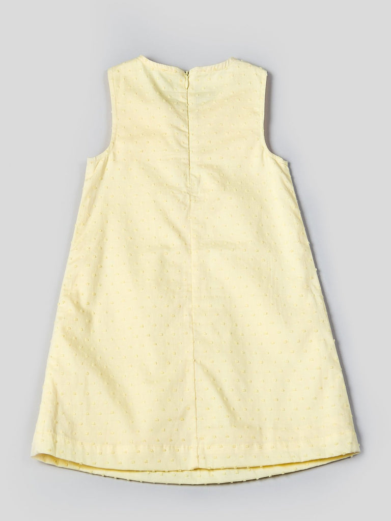 "Kinderkind 2T 3T 4T 5T 6 7 kids apparel Baby clothes Children's clothing Kids Fashion Kids clothing toddler clothes machine washable Playwear Girls clothing Girls Leggings Girls dresses Girls ""Sunshine Yellow"" Bow Dress Front bow sleeveless dress Fully lined Back hidden zipper Machine washable 100% cotton Swiss dot"