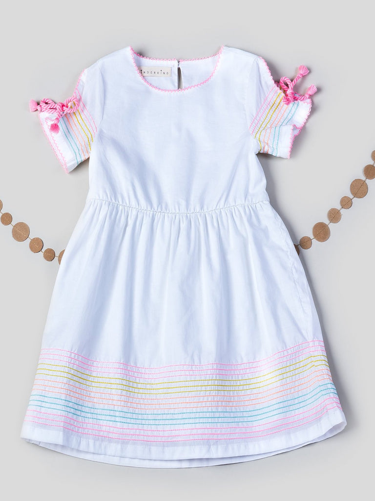 Kinderkind 2T 3T 4T 5T 6 7 kids apparel Baby clothes Children's clothing  Kids Fashion Kids clothing  toddler clothes machine washable  Playwear  Girls clothing  Girls clothes  Girls Leggings Girls dresses  Girls Tassel Tie Fit and Flare Dress Fit and flare cotton dress Split sleeve with tassel tie Colorful embroidery stitching detail at hem Fully lined  Machine washable 100% cotton voile