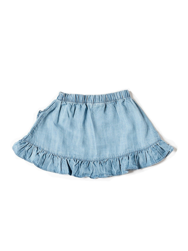 Kinderkind 2T 3T 4T 5T 6 7 kids apparel Baby clothes Children's clothing  Kids Fashion Kids clothing  toddler clothes machine washable  Playwear  Girls clothing  Girls clothes  Girls Leggings Girls dresses  Girls Tencel Ruffle Skirt Pull-On Skirt with Ruffle Hemline Faux Tassel Drawstring Machine Washable 100% Tencel Chambray