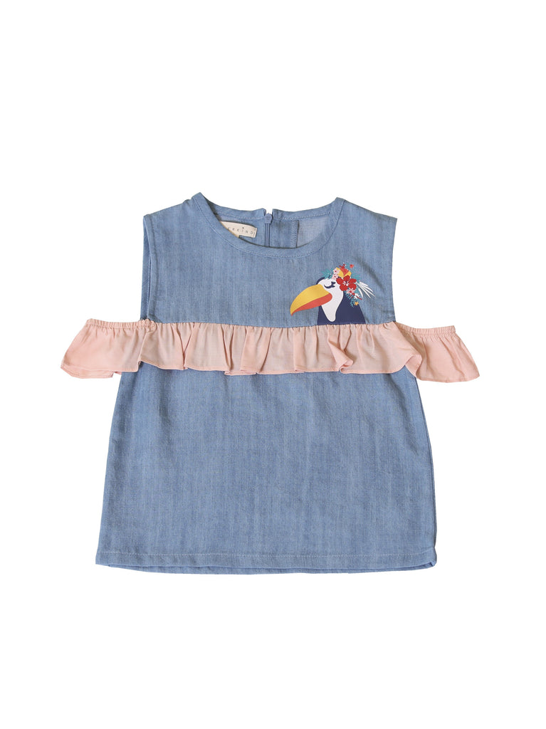 Kinderkind 2T 3T 4T 5T 6 7 kids apparel Baby clothes Children's clothing  Kids Fashion Kids clothing  toddler clothes machine washable  Playwear  Girls clothing  Girls clothes  Girls Leggings Girls dresses  Girls Toucan Chambray Ruffle Top Sleeveless chambray top with invisible back zipper Contrast ruffle detail and sleeves Toucan graphic  Machine washable 100% tencel chambray