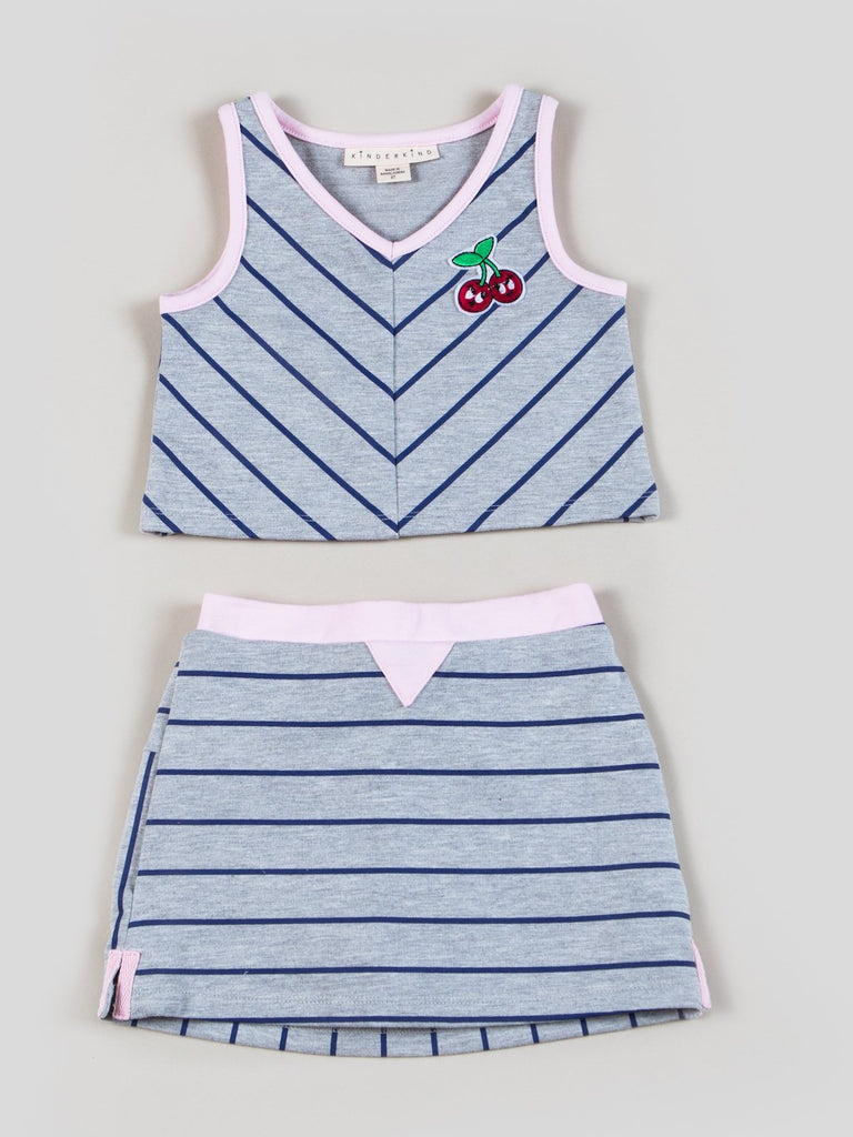 Kinderkind 2T 3T 4T 5T 6 7 kids apparel Baby clothes Children's clothing  Kids Fashion Kids clothing  toddler clothes machine washable  Playwear  Girls clothing  Girls clothes  Girls Leggings Girls dresses   Girls V-neck Strip top and Matching Pull-on Skort Striped V-Neck Sleeveless Top Pull-on back elastic waistband short Side slits with contrast twill tape Machine washable 95% cotton 5% spandex french terry