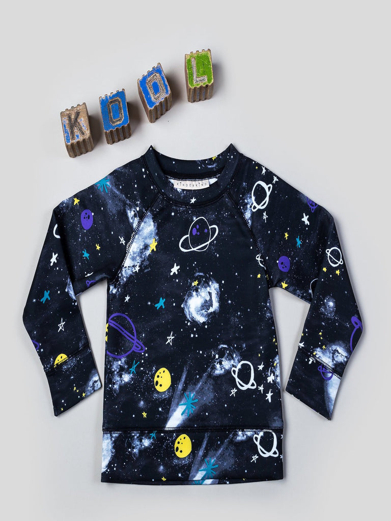 Kinderkind 2T 3T 4T 5T 6 7 kids apparel Baby clothes Children's clothing  Kids Fashion Kids clothing  toddler clothes machine washable  Playwear  Girls clothing  Girls clothes  Girls Leggings Girls dresses  Unisex Scuba Pullover Crew neck pullover with raglan sleeves Fun galaxy print Machine washable 96% polyester 4% spandex scuba