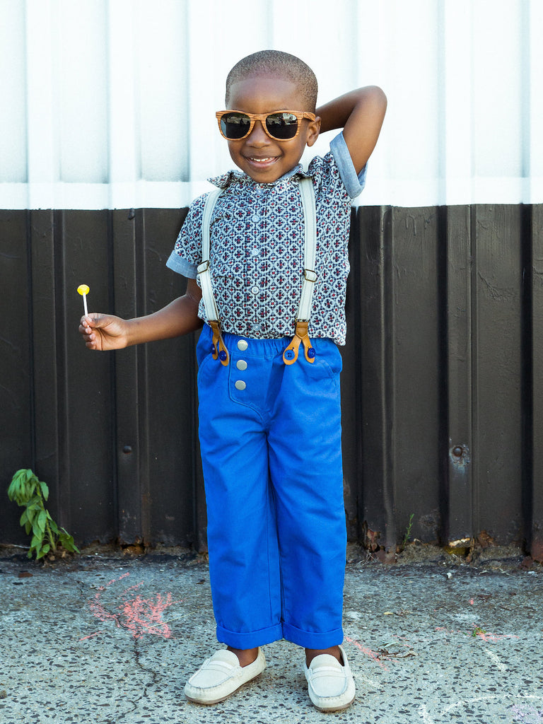 Boys Double Weave Shirt and Pull On Pants with Suspenders