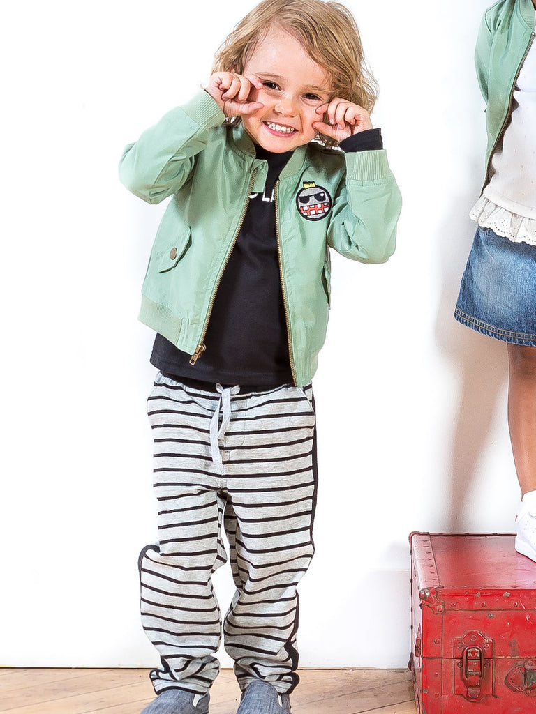 Kinderkind 2T 3T 4T 5T 6 7 kids apparel Baby clothes Children's clothing  Kids Fashion Kids clothing  toddler clothes machine washable  Playwear  Boys clothing  Boys Bomber Jacket with Long Sleeve Tee and Pull On Jogger  Bomber jacket with graphic detail Graphic Long sleeve crew neck tee  Pull on jogger with elastic waistband and non functional drawstring  Machine washable 100% polyester microfiber 100% cotton jersey 95% cotton 5% spandex printed french terry