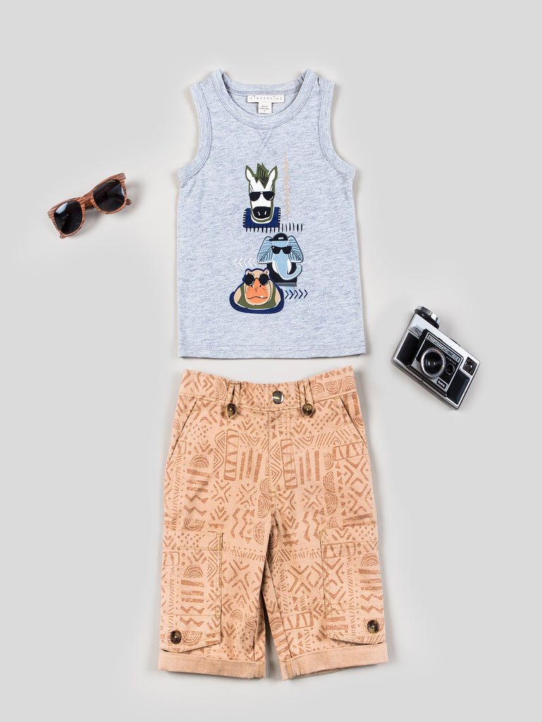 Boys Graphic Tank and Pull-on Canvas Shorts
