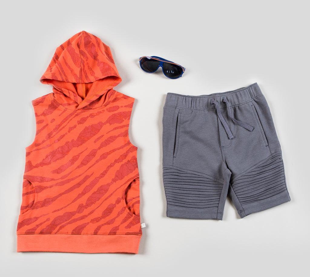 Boys Sleeveless Hoodie with Pull-on Knit Shorts Set