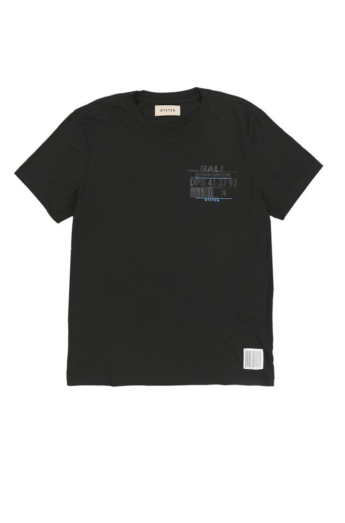 BALI BOARDING PASS TEE (BLACK)
