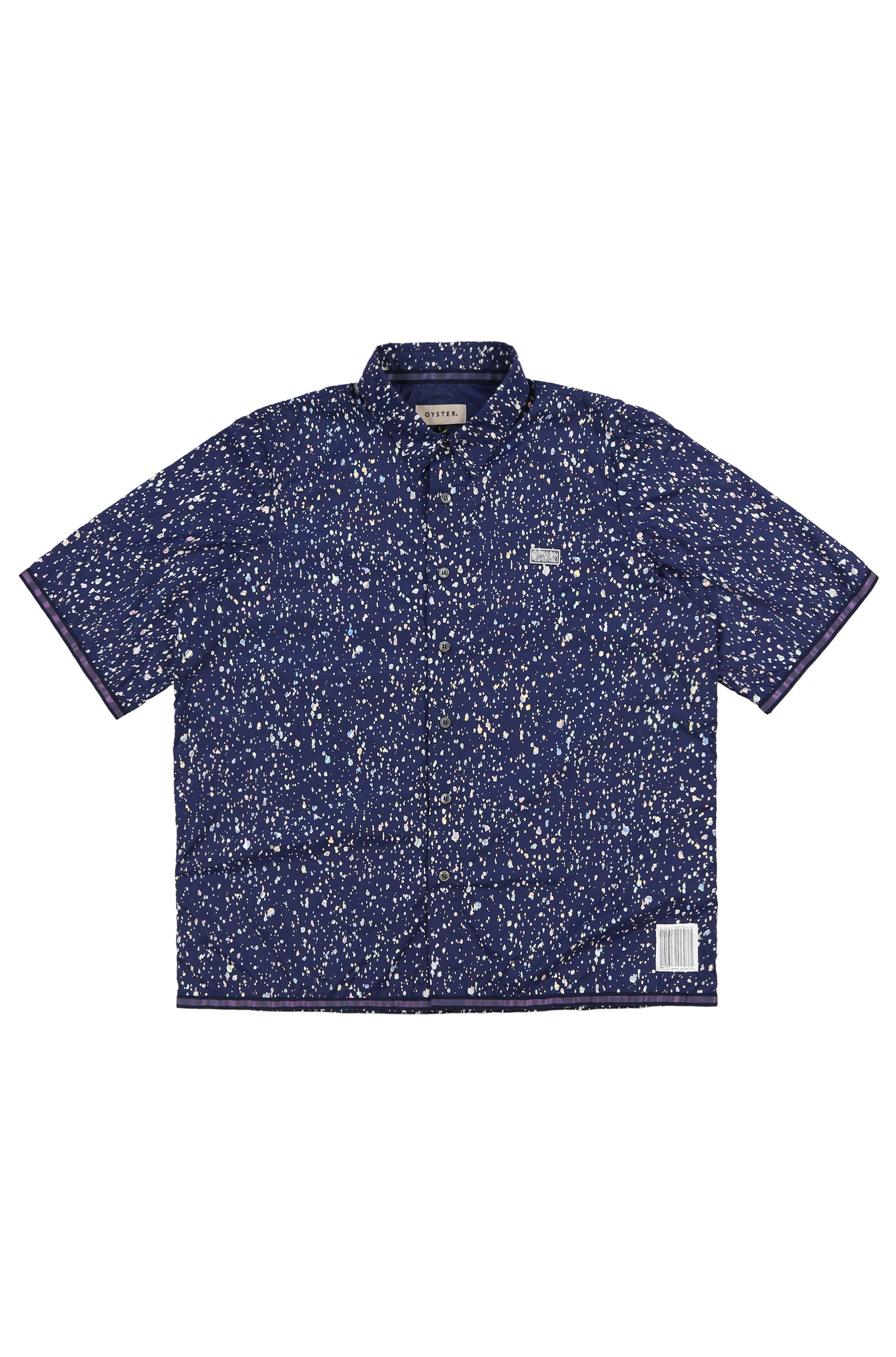Oyster Pearl Splatter SS Button Up (Navy Iridescent)