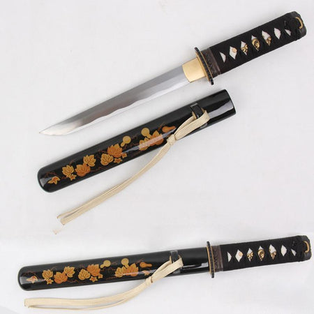 Flower Decor Carbon Steel Tanto Sword