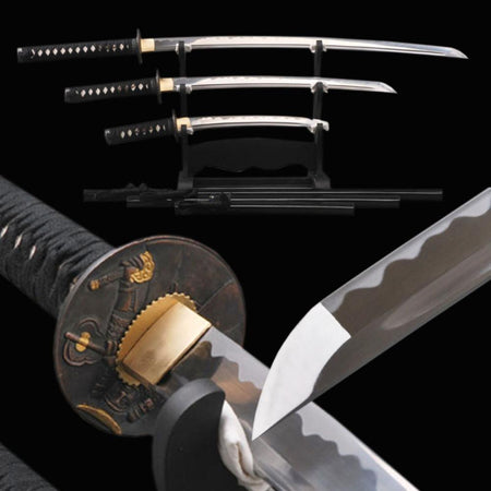Akemi Carbon Steel Three Samurai Sword Set