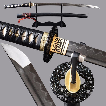 Araki Clay Tempered Folded Steel Katana Samurai Sword - BladesPro UK