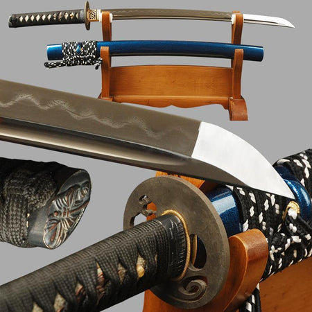 Tani Clay Tempered Folded Steel Wakizashi Samurai Sword