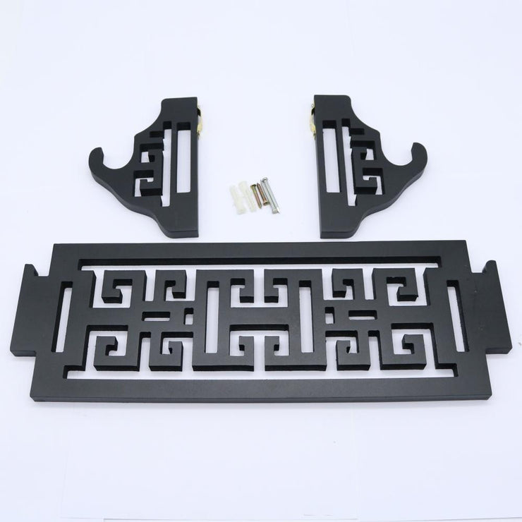 Chinese Sword Hanging Bracket with Hollow Decor - Black