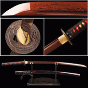 Ruolan Folded Red Steel Katana Samurai Sword - BladesPro UK