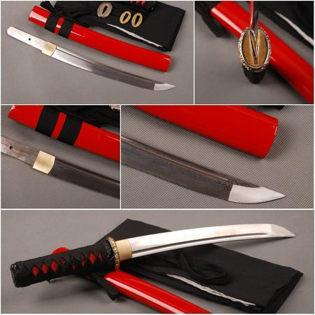 Scarlet Folded Carbon Steel Tanto Sword - BladesPro UK