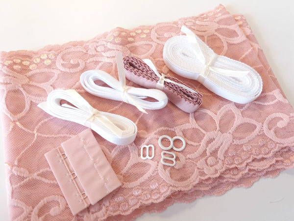 Kit soutien (rosa claro) - Bra kit (light pink) - picot