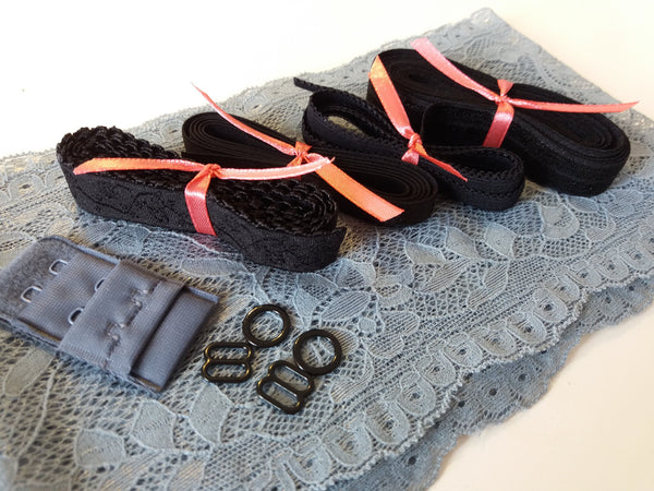 Lingerie kit - cinza & preto / grey & black
