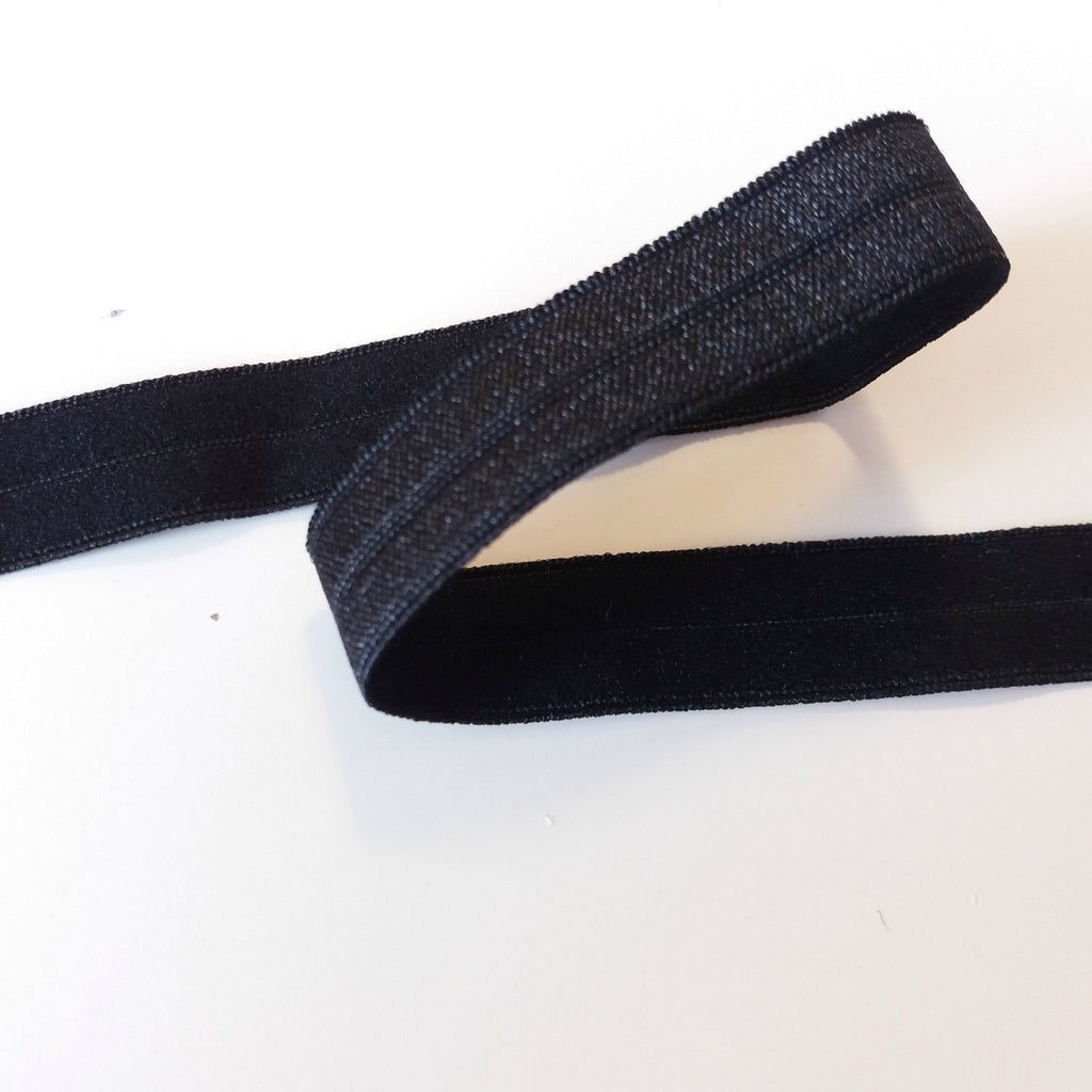 Fold over elastic - Preto / Black (12mm) - Suco by Susana
