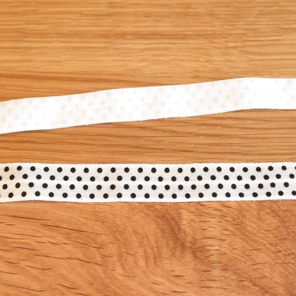 Fold over elastic - Branco pintas / White+black spots