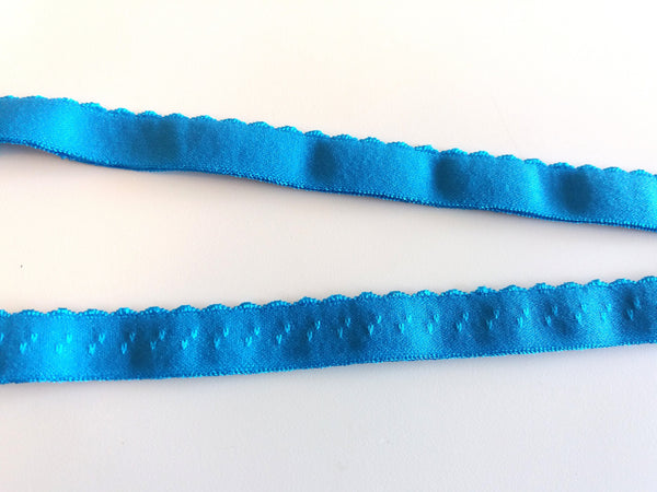 Scalloped edge Foldover elastic - Aqua
