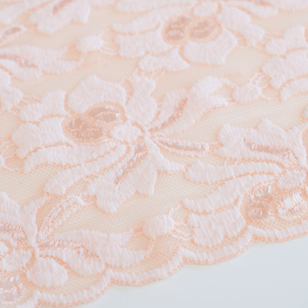 Renda elástica salmão - Light salmon stretch lace