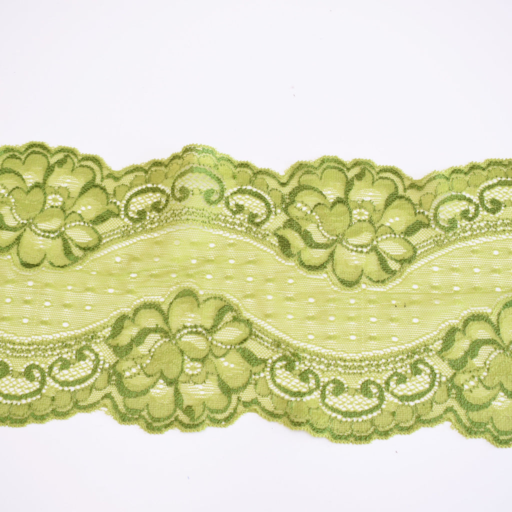 Renda elástica verde - Green stretch lace
