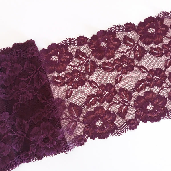 Renda elástica bordeaux - Burgundy stretch lace