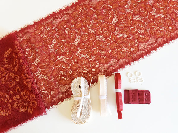 Lingerie kit - Bordeaux e dourado / Burgundy & gold