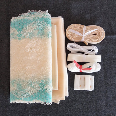 Lingerie kit - Pérola e azul / Ivory and mint