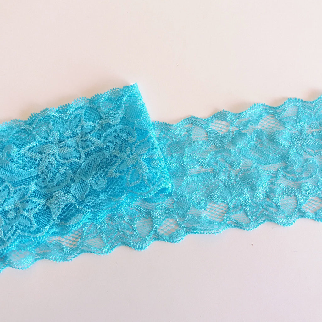 Renda estreita - Azul / Narrow stretch lace - Blue