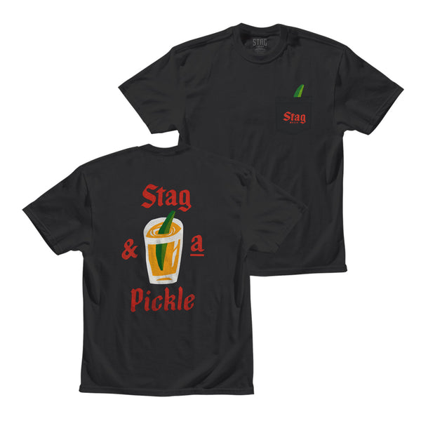 Stag & A Pickle Tee - Black - Stag Beer