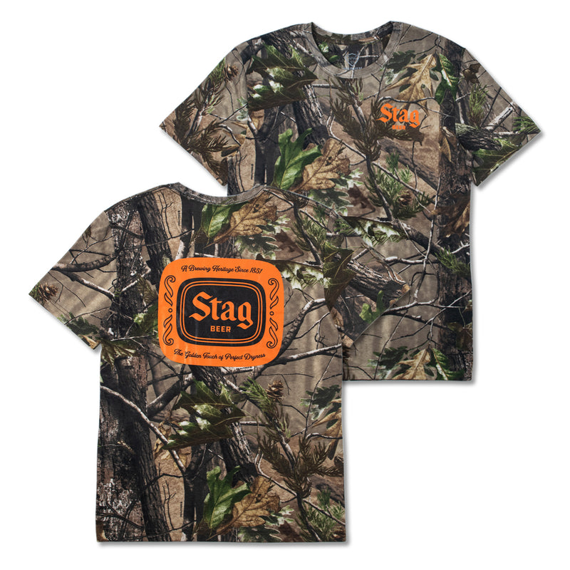 HUNTING BADGE TEE - CAMO/ORANGE - Stag Beer