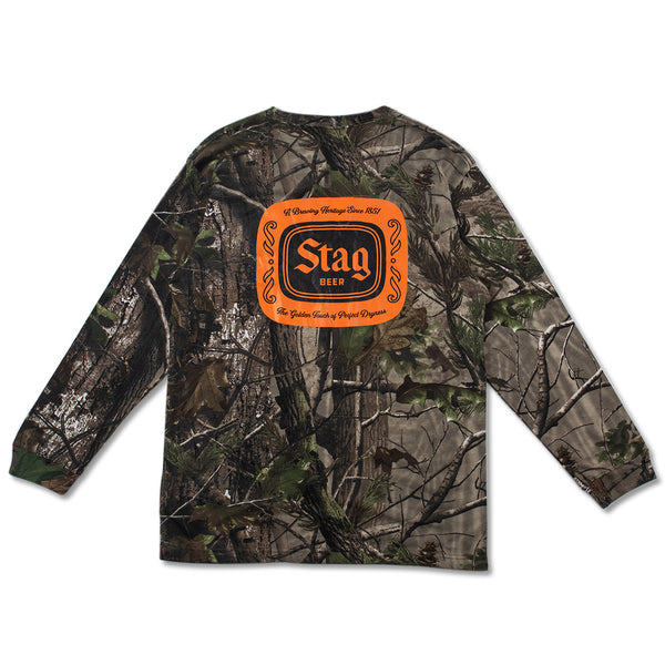 HUNTING BADGE L/S TEE - CAMO/ORANGE - Stag Beer