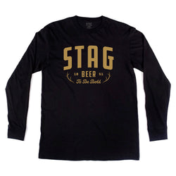 Antler Long Sleeve Tee - Black - Stag Beer