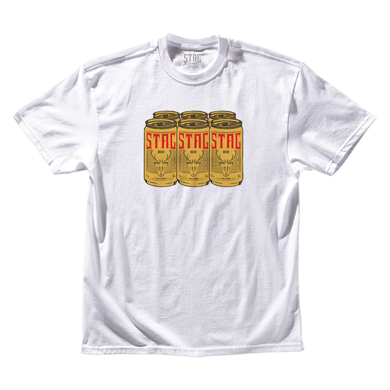 6 PACK TEE - WHITE - Stag Beer