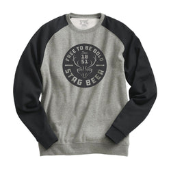 Badge Crewneck Fleece - Htr Gray/Htr Charc - Stag Beer