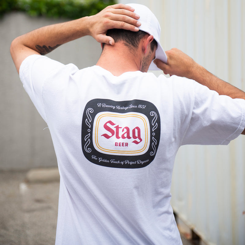 BADGE TEE - WHITE - Stag Beer